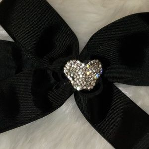 Butterfly hair bow black ribbon NWOT